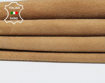SANDY TAN SUEDE sand light brown soft Italian Lambskin Lamb sheep leather 3 skins hides total 21sqf 0.6mm #A5475