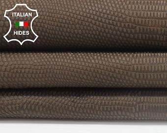 NATURAL BROWN reptile embossed vegetable tan Italian genuine Lambskin Lamb Sheep leather skin hide skins hides 6sqf 1.0mm #A3900