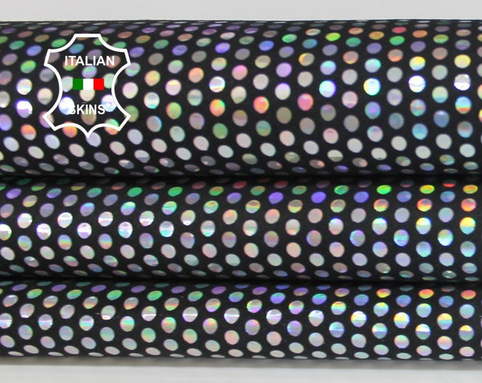 METALLIC SILVER POLKA Dots dot holographic iridescent Italian Lambskin Lamb Sheep leather skins hides skin hide 5sqf 0.7mm #A6579
