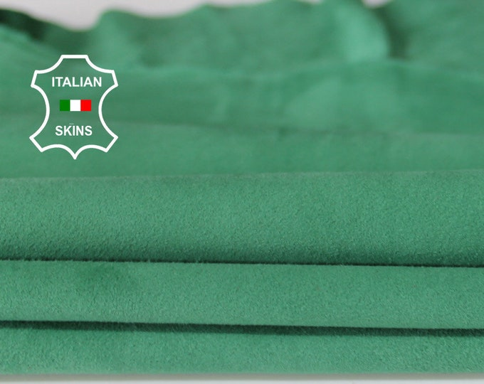 GREEN SUEDE soft Italian Lambskin Lamb sheep leather material for sewing crafts skin hide skins hides 4sqf 0.5mm #A6714