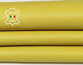 YELLOW GRAINY rough Italian Calfskin Calf cow cowhide leather upholstery skin hide skins hides 4-5sqf 0.8mm #A6791