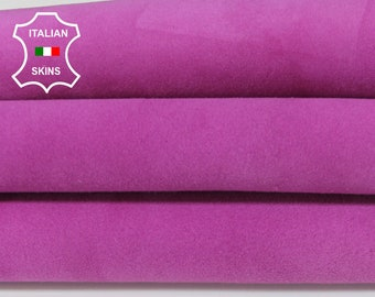 FUCHSIA MAGENTA SUEDE Italian Goatskin Goat Leather fabric material for sewing crafts skin hide skin hide skins hides 3+sqf 1.0mm #A6457