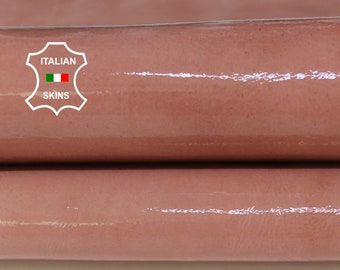 Bois De Rose Pink PATENT shiny wet look Italian Lambskin Lamb Sheep leather 2 skins hides total 5sqf 0.9mm #A6810