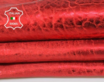 METALLIC RED bubbly grainy textured vintage look vegetable tan thick Lambskin Lamb Sheep leather skin hide skins hides 4-5sqf 1.5mm #A7215