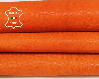 WASHED ORANGE natural grainy thick vegetable tan Italian Lambskin Lamb Sheep Leather skin skins hide hides 5-6sqf 1.5mm #A6871