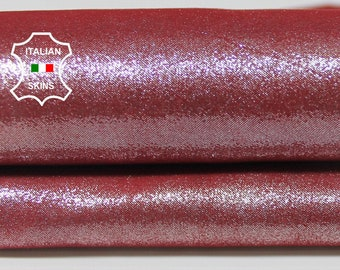 PEARLIZED SILVER SHIMMER on Red raspberry Italian Lambskin Lamb sheep leather skin hide skins hides 2sqf 0.9mm #A5785