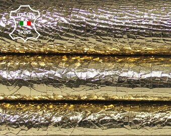METALLIC GOLD CRACKED Crackled crackle rough Italian Lambskin Lamb Sheep leather skin hide skins hides 4sqf 0.8mm #A5748
