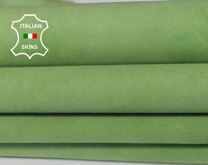 PISTACHIO GREEN SUEDE Italian Goatskin Goat Leather fabric material for sewing crafts skin hide 2 skins hides total 6sqf 0.7mm #A6456