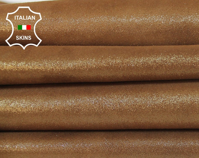 CAMEL Brown SHIMMER and SHINE pearlized look Italian Goatskin Goat Leather skin hide skins material for sewing crafts 2-3sqf 0.9mm #A6024