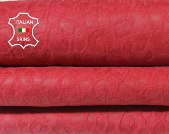 ROSE RED NABUCK Leopard embossed textured Italian Lambskin Lamb sheep leather skin hide skins hides 4sqf 0.8mm #A5784