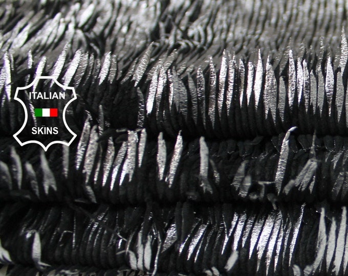 METALLIC SILVER FRINGED on black fringe Italian genuine Lambskin Lamb Sheep leather skins hides