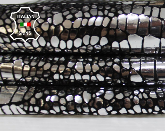 METALLIC SILVER CROCODILE on black textured Italian Goatskin Goat leather material for crafts skin skins hides 2-4sqf 0.9mm #A6330