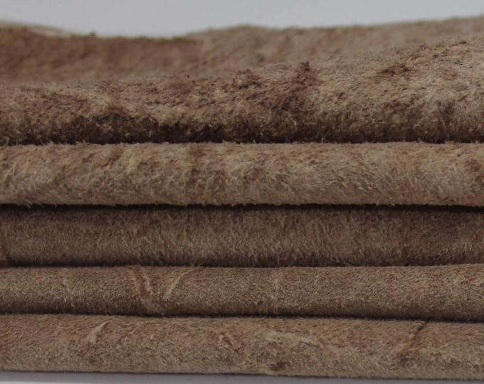 SUEDE COCOA BROWN Distressed Vintage Western Look Calf Calfskin Italian genuine leather skin skins hide hides 16sqf #A2919
