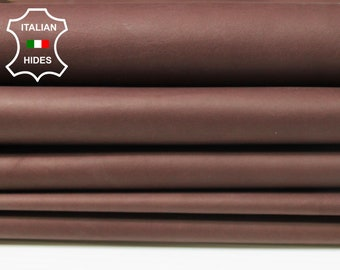 NATURAL ROSEWOOD BROWN thin soft Italian Calfskin Calf cow leather material for sewing 5 hides skins total 35sqf 0.4mm #A4777