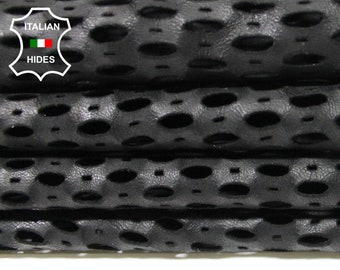 BLACK OVAL Perforated soft Italian Lambskin Lamb Sheep Leather 2 skins hides total 12sqf 0.5mm #A5038