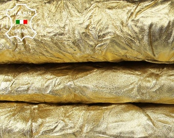 METALLIC GOLD WASHED wrinkle wrinkled rough Italian Goatskin Goat leather skin hide skins hides 2 skins hide total 10sqf 1.0mm