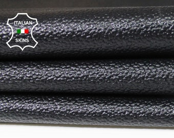 BLACK pebble grain grainy textured Italian Calfskin Calf cow leather material for sewing skin skins hide hides 14-22sqf 0.8mm