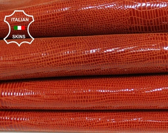BRIC ORANGE TEJUS reptile shiny print Italian Goatskin Goat leather material for sewing crafts fabric 2 skins hides total 7sqf 1.0mm #A6021