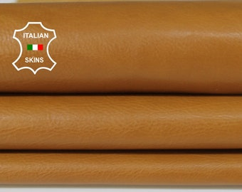 TAN light camel Italian Calfskin Calf cow cowhide leather upholstery skin hide skins hides 4-6sqf 0.8mm #A6777
