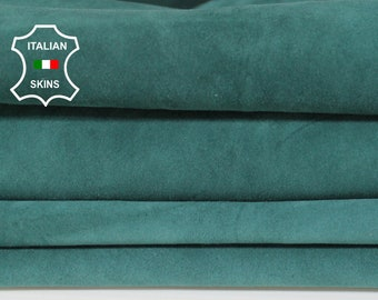 TEAL GREEN SUEDE Italian Goatskin Goat leather material for sewing crafts 2 skins hides total 7sqf 1.0mm #A6223