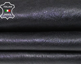 WASHED BLACK ANTIQUED thick Italian Goatskin Goat leather 5 skins hides total 38sqf 1.5mm #A4976