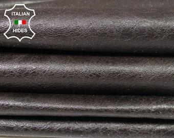 DARK BROWN CRINKLE crinkled shiny vintage look soft Italian Lambskin Lamb Sheep Leather skin hide skins hides 6sqf 0.8mm #A4994