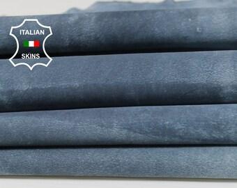 DENIM BLUE SUEDE vintage distressed Italian Goatskin Goat leather skin hide skins hides 2sqf 0.6mm #A6797