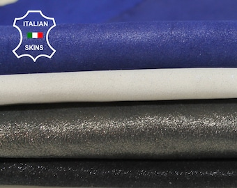 SUEDE PEARLIZED LOT 4 Colors Italian Goatskin Goat leather for sewing crafts 4 skins hides total 16sqf 0.6mm #A6811