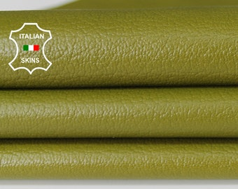 PISTACHIO GREEN PEBBLE grainy avocado textured Italian Lambskin Lamb sheep leather material for sewing crafts skins hides 5-8sqf 0.6mm A6660
