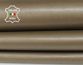 GOLDEN KHAKI PEARLIZED washed vegetable tan Italian Lambskin Lamb sheep leather bookbinding sewing crafts 2 skins total 10sqf 1.0mm #A6731