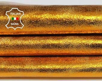 METALLIC ORANGE CRACKLE crackled vintage look Italian Goatskin Goat Leather skin hide skins hides 3-4sqf 0.9mm #A6823