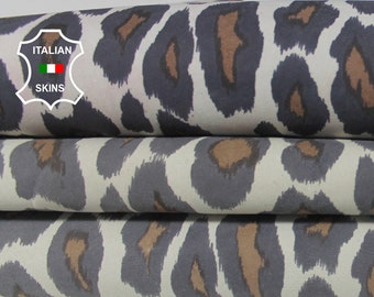 LEOPARD PRINT ON White ivory Italian Lambskin Lamb Sheep Leather material for sewing crafts skin skins hides 7sqf 0.8mm #A6427