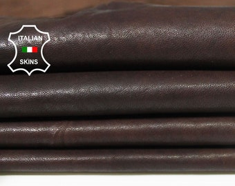 BROWN ANTIQUED soft vegetable tan tanned Italian Lambskin Lamb Sheep leather skin hide skins hides 7sqf 0.8mm #A5476