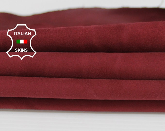 WINE BORDEAUX SUEDE soft Italian Lambskin Lamb sheep leather material for sewing crafts skin hide skins hides 4sqf 0.5mm #A6712