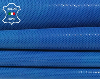 ELECTRIC BLUE LAME shiny textured print Italian Goatskin Goat leather material for sewing crafts fabric skins hides 2+sqf 0.6mm #A6022