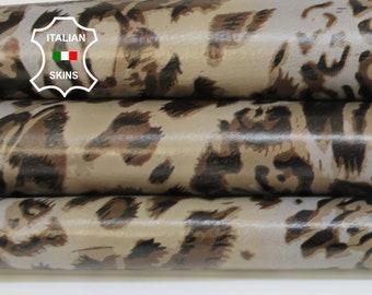 LEOPARD KHAKI & TAUPE print textured on tan Italian Lambskin Lamb Sheep leather skin hide skins hides 7sqf 0.7mm #A6859