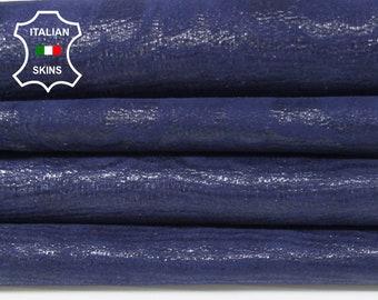 BLUE TEXTURED printed Italian Goatskin Goat leather skin hide skins hides 2 skins total 6sqf 0.7mm #A6792
