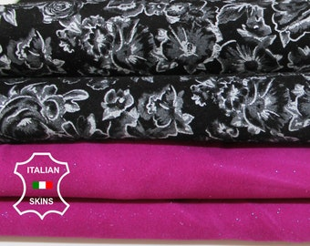 SUEDE 2 COLORS flowers on black & magenta pearlized Italian Goatskin Goat leather for sewing crafts 2 skins hides total 5sqf 0.6mm #A6808