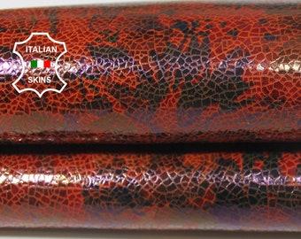 BRIC FLOWERS Print shiny fire orange textured Italian Lambskin Lamb sheep leather skin hide skins hides 2sqf 0.6mm #A5782