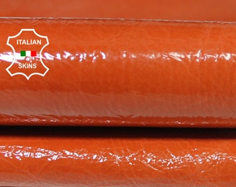ORANGE PATENT CRINKLE crinkled shiny wet look Italian Lambskin Lamb Sheep leather 2 skins hides total 5sqf 0.7mm #A5859
