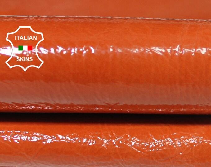 ORANGE PATENT CRINKLE crinkled shiny wet look Italian Lambskin Lamb Sheep leather 2 skins hides total 5sqf 0.7mm #A5859