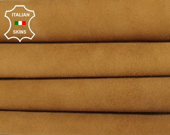 TAN WHISKY SUEDE camel Italian Goatskin Goat leather material for sewing crafts 2 skins hides total 8sqf 1.0mm #A6217