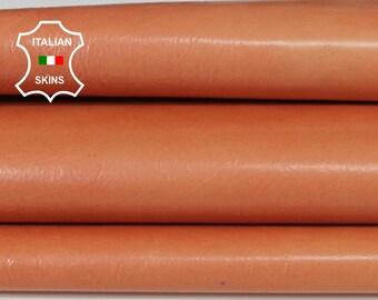 PEACH SALMON ORANGE patent coated Italian Lambskin Lamb Sheep leather skin skins hide hides 4sqf 0.6mm #A6492