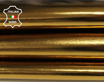 METALLIC BRASS old gold Italian Lambskin Lamb Sheep leather material for sewing crafts skin skins hide hides 7-8sqf 0.8mm #A6786