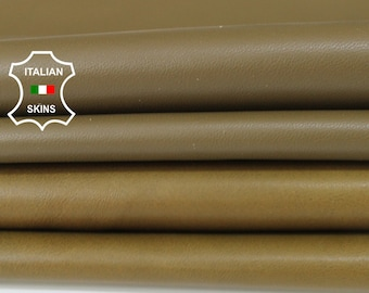 OLIVE GREEN 2 SHADES pack soft Italian Lambskin Lamb Sheep leather material for sewing crafts 2 skins hides total 14sqf 0.6mm #A6118
