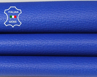 BLUE PEBBLE GRAINY grain royal blue textured Italian genuine Goatskin Goat Leather skins hides 0.5mm to 1.2mm