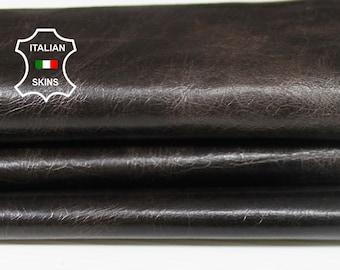 DARK BROWN CHOCOLATE  crinkle crinkled vintage Italian Goatskin Goat leather material for sewing crafts skin skins hide 4sqf 0.7mm #A6235
