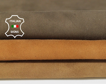 BRIC BROWN SUEDE 3 shades Italian Goatskin Goat leather material for sewing crafts lot 3 skins total 10sqf 0.9mm #A6220