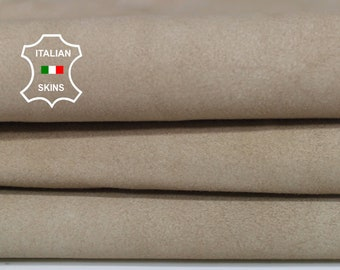 BEIGE SUEDE sand Italian Genuine Goatskin Goat leather sewing material crafts skin hide skins hides 4sqf 1.1mm #A7055