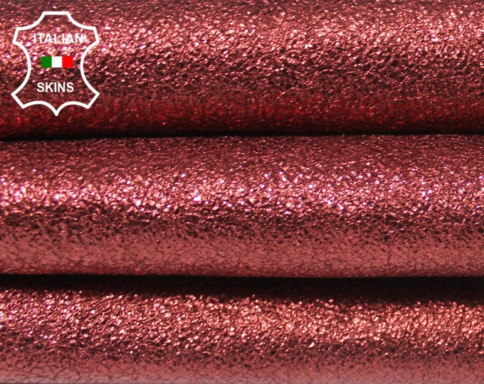 METALLIC CRISPY BORDEAUX rough Italian Lambskin Lamb Sheep leather skin hide skins hides 4sqf 0.9mm #A5745